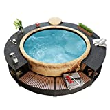 Tidyard Spa Surround, Tub Surround Poly Rattan Black