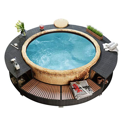 Festnight Outdoor Garden Spa Surround Step, Patio Hot Tub Surround, Spa Swimming Pool Surround Step, Poly Rattan Black