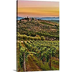 "Richard Duval Premium Thick-Wrap Canvas Wall Art Print entitled Italy, Tuscany, Greve. Dawn on Castello di Verrazzano estate 32""x48"""