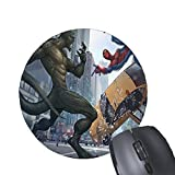 spiderman mouse pad - MousePad Green Monster and Spider-Man fight pattern printed Round mouse pad non-slip natural rubber mousemat (perfecone)