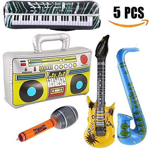 (Inflatable Guitar Saxophone Microphone Piano Musical Instruments Party Balloon Instrument Band Theme Carnival Accessories Adult Children Interaction Toy)