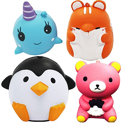 4 Pcs Jumbo Squishies Penguin Hamster Whale Pink Bear Slow Rising Animals Squishies Cream Scented Stress Relief Kawaii Toys For Kids and Adults (Shape Model Toy Animal)