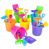 Neliblu 1 Dozen Mini Beach Sand Pail Playsets- Beach Toys 12 3.5'' Buckets, Shovels, Rakes, and Scoops - Bulk Party Pack for Pool or Beach Party Favors By