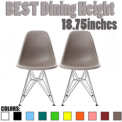 Taupe Armless Chair (2xhome - Set of Two (2) Grey / Taupe - Eames Side Chair Eames Chair Grey Seat Chrome Metal Legs Eiffel Dining Room Chairs No Arm Arms Armless Molded Plastic Seat Dowel Leg Wood)