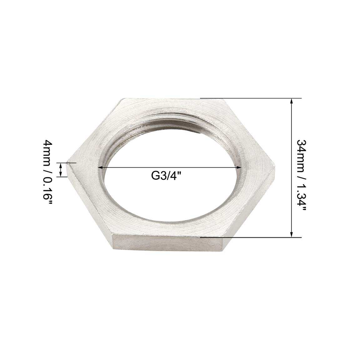uxcell Pipe Fitting Hex Locknut SUS304 Stainless Steel G3//4 Inch Female Threaded