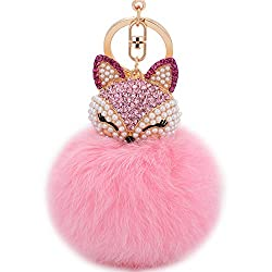 Pink Fur Ball Keychain with Fox Head Studded with Rhinestone