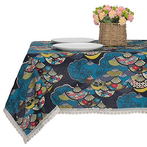 Japanese Style Vintage Lace Tablecloth, Cotton Linen Printed Rectangular Tablecloth for Home Restaurant Hotel Decoration (55