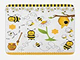 Ambesonne Collage Bath Mat, Flying Bees Daisy Honey Chamomile Flowers Pollen Springtime Animal Print, Plush Bathroom Decor Mat with Non Slip Backing, 29.5 W X 17.5 W Inches, Yellow White Black