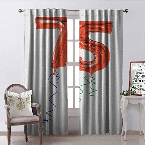 GloriaJohnson 75th Birthday Shading Insulated Curtain Number Balloons in Red Color with Curly Swirl Ribbons Celebration Mood Soundproof Shade W52 x L84 Inch Red Blue Green