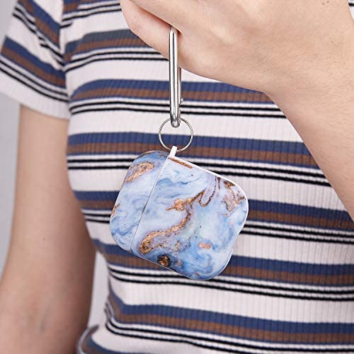 Airpods Case - QINGQING Cute Marble Apple Airpods Accessories Protective Hard Case Cover Portable & Shockproof Women Girls Men with Keychain for Airpods 2/1 Charging Case (Oasis Blue+Green Marble)