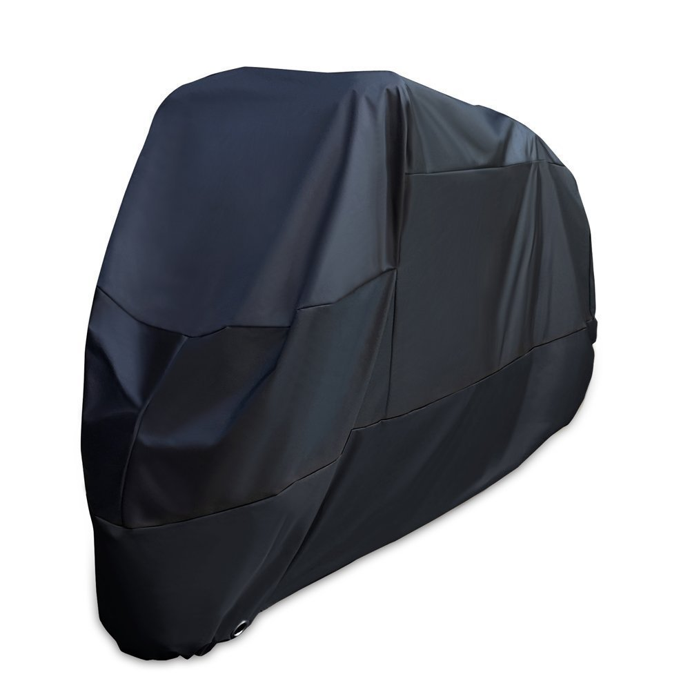 XYZCTEM Motorcycle Cover -Waterproof Outdoor Storage Bag,Fits up to 108 inch Motors,Compatible with Harley Davison and Most motors(Black& Lockholes& Professional Windproof Strap) by XYZCTEM (Image #2)