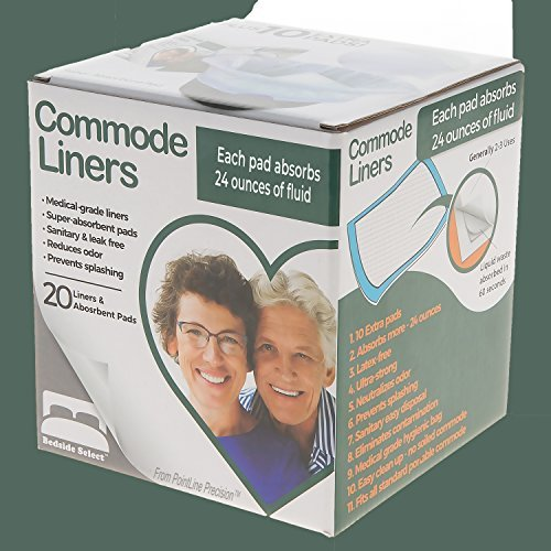 - BEDSIDE SELECT Commode Liners 20 Bags & 30 Pads (10 FREE!) 24 oz Super Absorbent Pads, You'll LOVE Them! Fit Universal Portable Toilet for Adults, All Bedside Commodes for Adults