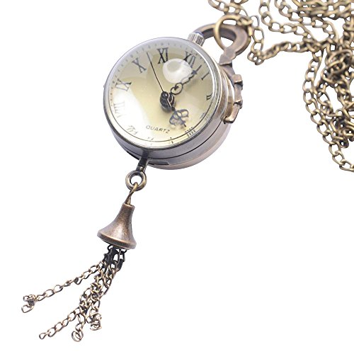 81stgeneration Women's Brass Sphere Steam Punk Vintage Orb Pocket Watch Pendant Necklace, 78 cm from 81stgeneration