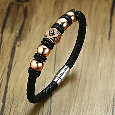 ZUOZUO Leather Wristband Micro Inlay Stone Bead Bracelet Men S Woven Leather Bracelet Stainless Steel Magnetic Clasp Estimated Price £29.99 -