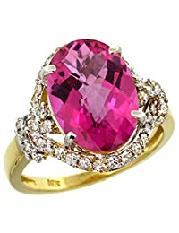 14k Yellow Gold Natural Pink Topaz Ring Diamond Halo Oval 14x10mm, 3/4 inch wide, sizes 5 - 10