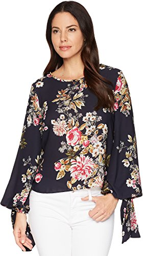 Vince Camuto Womens Tie Cuff Bubble Sleeve Blouse Evening Navy (Bubble Sleeve)