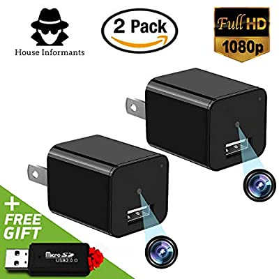 Hidden Spy Camera | 2 Pack | USB Charger | 1080P Full HD |Has Motion Detection | Loop Recording | Free Flash Transfer Stick | For Protection and Surveillance of Your Home and Office by House Informants