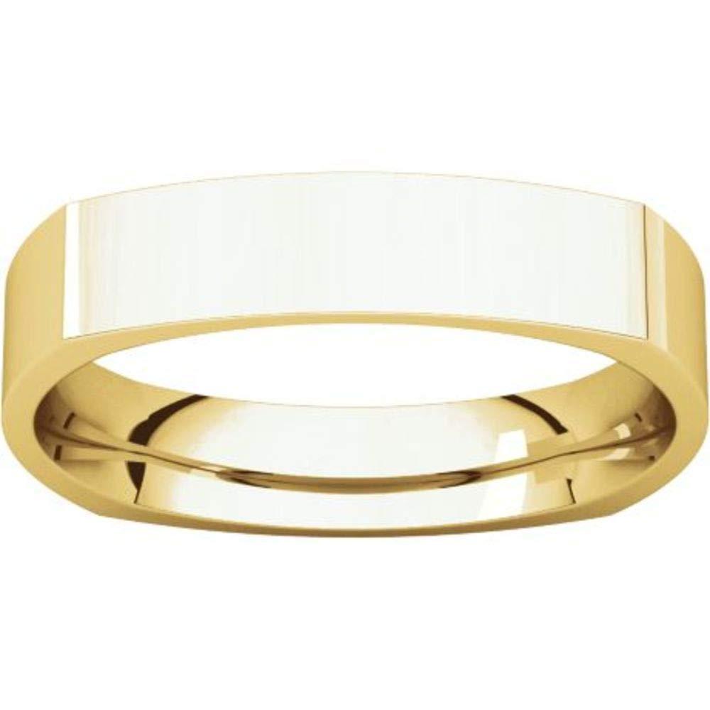Bonyak Jewelry 10k Yellow Gold 4 mm Square Comfort-Fit Band Size 9