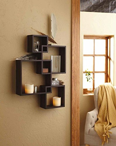 SHELVING SOLUTION Intersecting Squares Floating Shelf,2 LED Candles Included (Espresso)