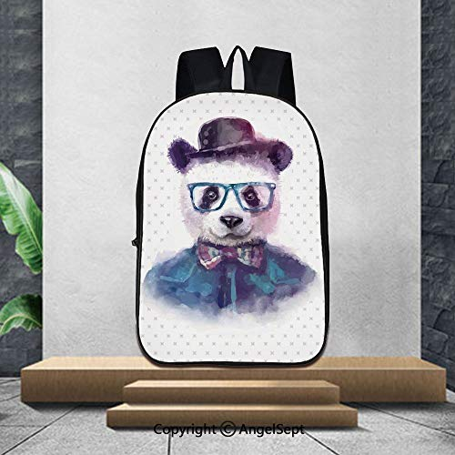 Printed Customized Casual Book Bag,FunnyVintage Hipster Panda with Bow Tie Dickie Hat Horn Rimmed Glasses Watercolor Style,16.5