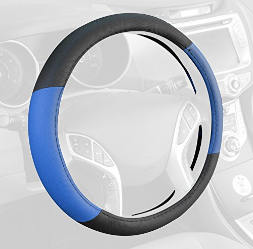 BDK SW-603-BL_am Blue Standard Two Tone Perforated PU Leather Steering Wheel Cover for Car Van Suv Truck (14.5 to 15.5 (Tone Steering Wheel Cover)