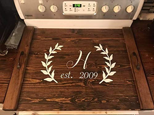 - Rustic Farmhouse Wooden Kitchen Stove Top Cover Tray Noodle board
