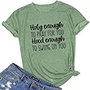 Gemira Christian T Shirts Women with Bible Verse Faith Sayings Church Tops - You SAY I AM Loved When I Can'