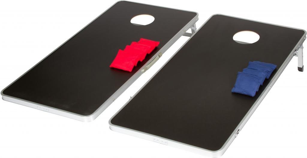 4' Corn Hole & Bean Bag Toss Set - Lightweight & Portable Aluminum - By Trademark Innovations (Black)