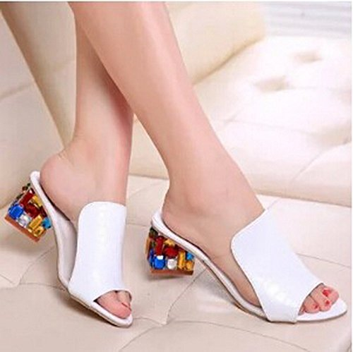 Women Sandals 2015 Sexy Open toe Wedge Slides shoes woman (7, White)