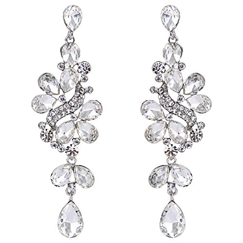 BriLove Women's Victorian Style Crystal Wedding Bridal Cluster Leaves Teardrop Dangle Earrings Clear Silver-Tone (Cluster Earrings Teardrop)