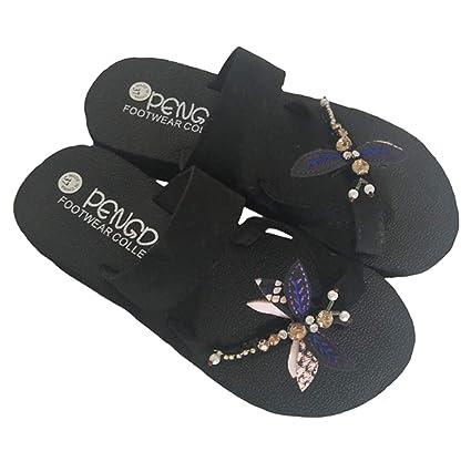 6ec69e0e65964 LGXH Womens Comfy Dragonfly Flat Slippers Rubber Foaming Lightweight Summer  Girls Casual Beach Sandals Black Heel