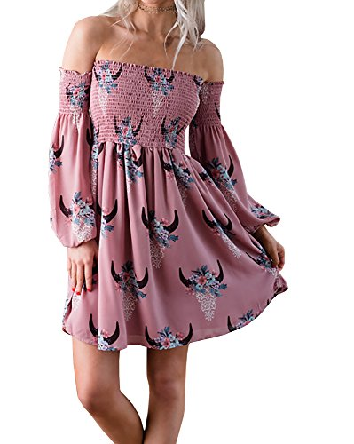 Hestenve Women Off Shoulder Floral Printed Long Balloon Sleeve Elastic Ribbed Swing Dress