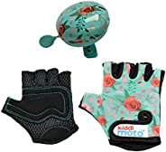 KIDDIMOTO- Bell & Fingerless Cycling Glove (Floral/Small)   Prefect for for Bike, Scooter & Skateboard