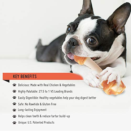 LuvChew Premium Dog Chew Bones, Made with Real Chicken, Rawhide Free, Gluten Free, Made with Limited Ingredients, Delicious, Healthy, Highly Digestible, No Choking Hazard (Medium 5pcs/Pack)
