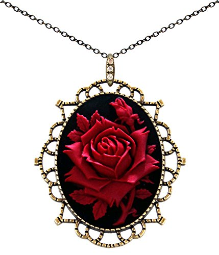 Princess Crown Necklace Antique Brass Fashion Jewelry Deluxe Pouch for Gift (Red Rose)