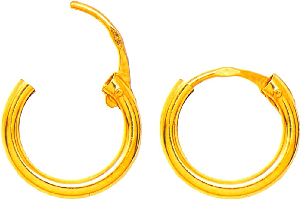14K Gold Continuous Endless Hinged Hoop Earrings (1.5mm Tube), All Sizes