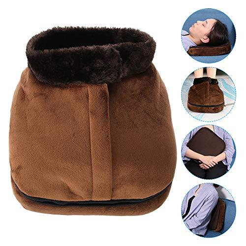 Filfeel 2 in 1 Foot Massager & Heated Doot Warmer, Unisex Velvet Electric Machine Massage Feet Massaging Big Slipper(Brown)