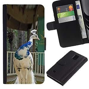 KingStore / Leather Etui en cuir / Samsung Galaxy Note 4 IV / Porcelaine Blanc Bleu Couronne