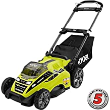 """Ryobi RY40180 40V Brushless Lithium-Ion Cordless Electric Mower Kit, With 5.0Ah Battery, 19.88 """" x  40.748 """" x  22.677"""""""