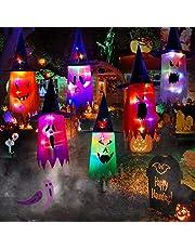 DriSubt 6 stuks Halloween decoraties outdoor feestdecoraties gloeiende heks decor enge geest opknoping verlichte gloeiende geest Halloween boomdecoraties voor tuin
