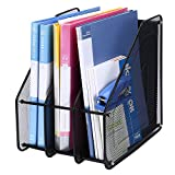 TOROTON File Rack Holder, 3 Compartments Mesh Metal Home Office Desk Book Sorter Storage Shelf, for Paper Magazine Documents and Books -Black