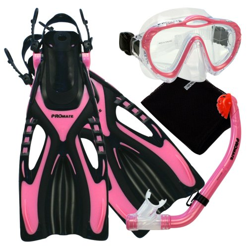 (Promate 4570, pk, lxl, Junior Snorkeling Scuba Diving Mask Snorkel Fins w/Mesh Bag Set for kids)