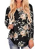 Women's Loose Blouses Black Fall Tops Floral Print V Neck Long Sleeve T-Shirt S