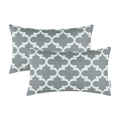 CaliTime Pack of 2 Soft Canvas Bolster Pillow Covers Cases for Couch Sofa Home Decor Modern Quatrefoil Accent Geometric 12 X 20 Inches Grey