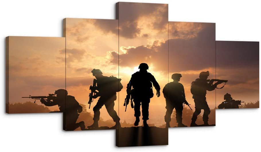 """USA US American Military Soldiers Army Police Wall Art decor canvas poster picture painting 5 Pieces Framed Canvas Print Home Decor Artwork for Living Room Bedroom HD Printed canvas-60"""" Wx32 H"""