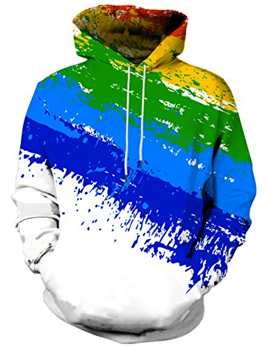 (Hgvoetty Unisex Realistic 3D Athletic Printed Big Pockets Pullover Hoodies M)