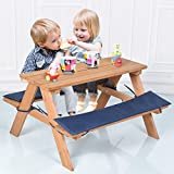 MD Group Beach Table Bench Set Kids Wooden Outdoor Picnic Garden Yard Furniture with Seat Cushion