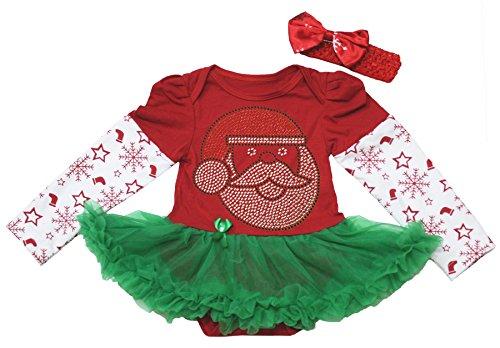Christmas Baby Dress Santa Claus Snowflake L/s Red Bodysu...