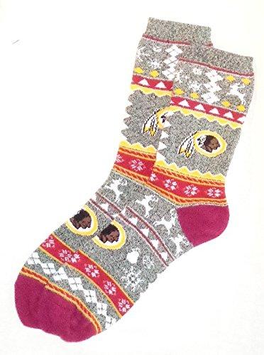 Washington Redskins NFL MENS Ugly Christmas Football Crew Length Socks Large