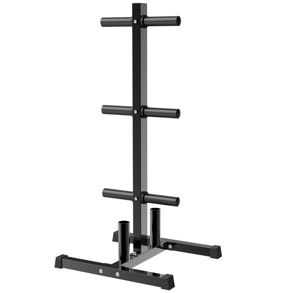 Yaheetech Olympic Weight Rack/Tree with Bar Holder for 2 Inch Barbell/Bumper Plates Heavy Duty Stand Black